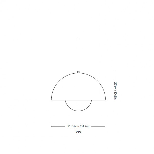 medidas lámpara suspensión Flowerpot VP7
