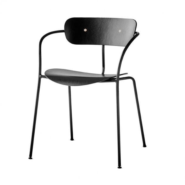 silla Pavilion AV2 &Tradition roble lacado negro
