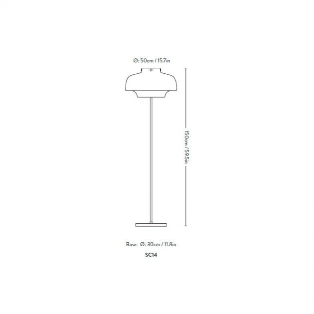 medidas lámpara de pie Copenhagen SC14 Andtradition