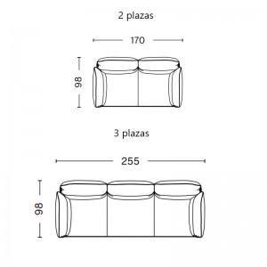 medidas sofá Pandarine cylindrical armrest