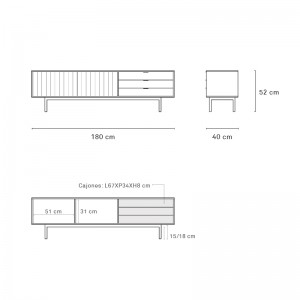 Medidas mueble TV Sierra de Teulat en Moises Showroom