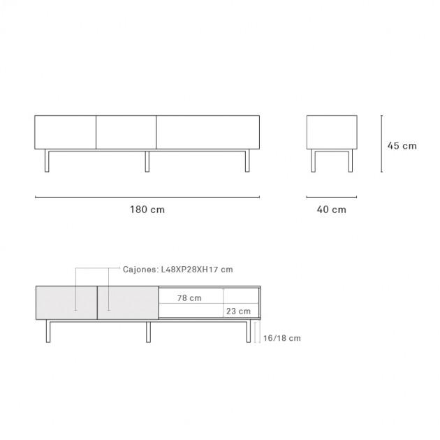 Medidas mueble TV Arista de Teulat en Moises Showroom