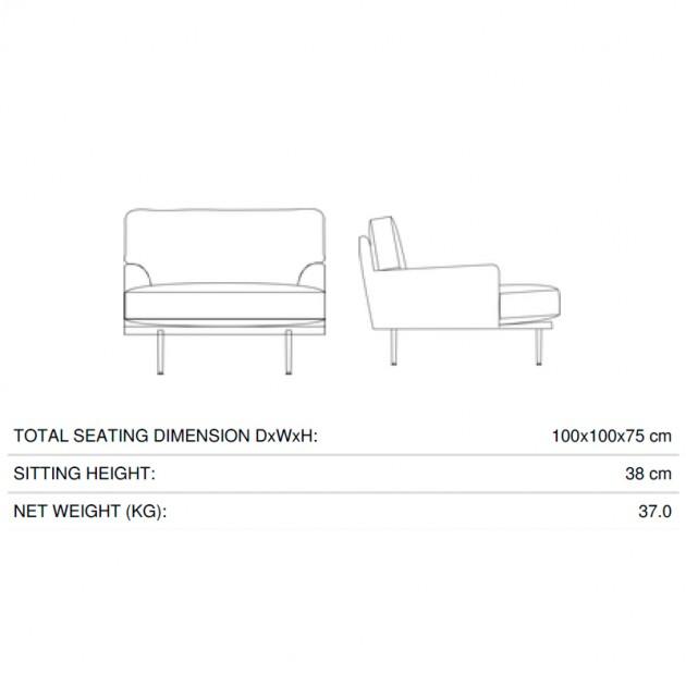 Medidas Flaneur Lounge chair de Gubi en Moises Showroom