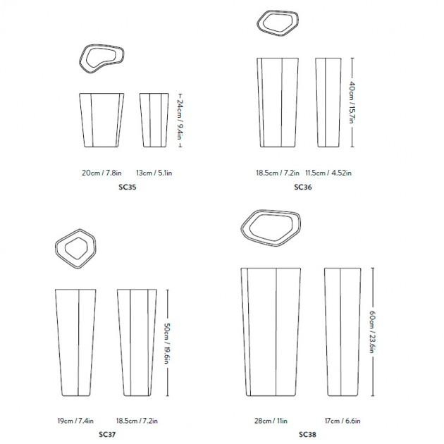 medidas jarrones Glass Vases Andtradition