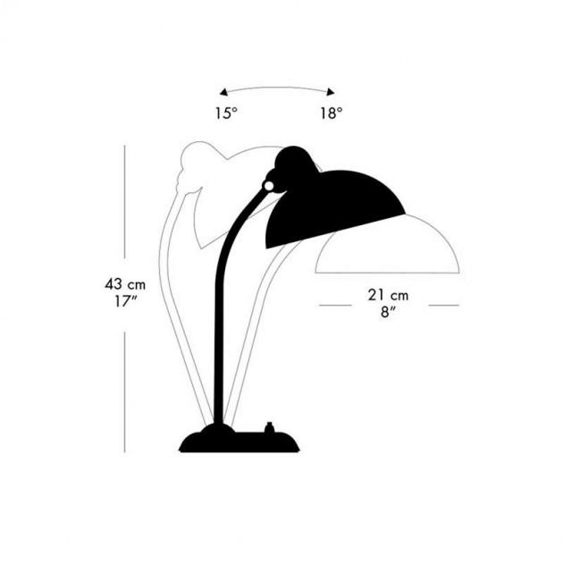Medidas y posiciones de lámpara de sobremesa Kaiser de Fritz Hansen