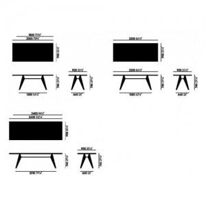 Medidas mesa EM HPL marfil de Vitra diseñada por Prouve en Moises Showroom