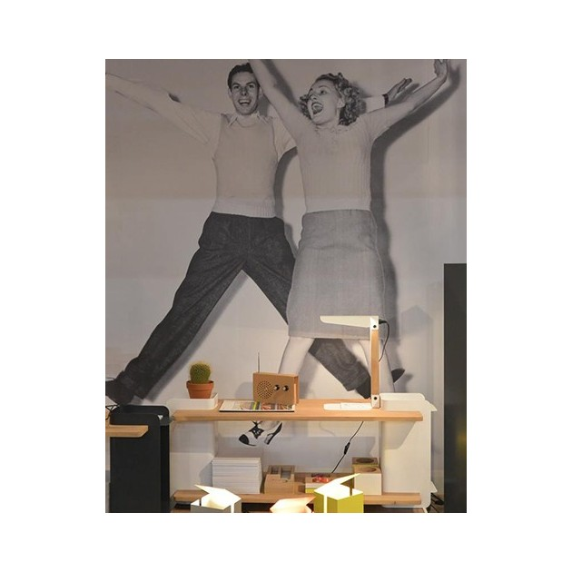 Ambiente creado con la lampara u shelf  color blanco de Ethnicraft sobre una estantería de madera