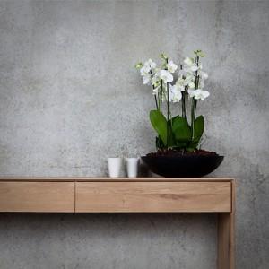 Consola Nordic de dos cajones de Ethnicraft con maceta de flores blancas la izquierda